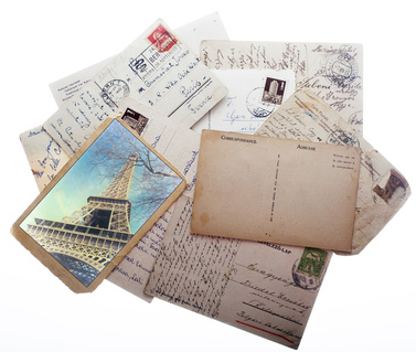 Old vintage postcards with space for text